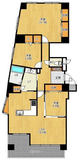 10階角部屋 4LDK改⇒3LDK エクセルシオール大谷地 画像3