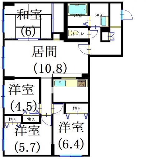 苫小牧市青葉町 分譲マンション パークハイツコスモ 105号室【角部屋】 画像2