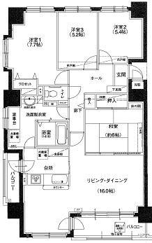 学園前駅歩6分 13階角部屋4LDK 内装リフォーム済マンション 画像2