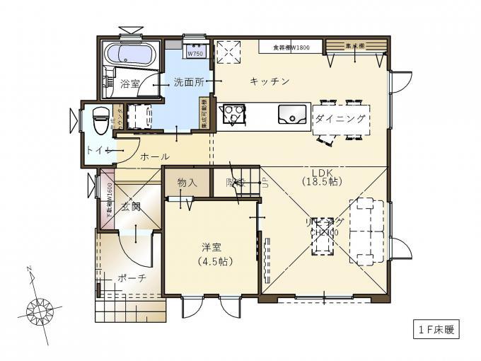 【コスモ建設】ワークスペースと高天井リビングのある家①  Bastia  バスティア 画像3
