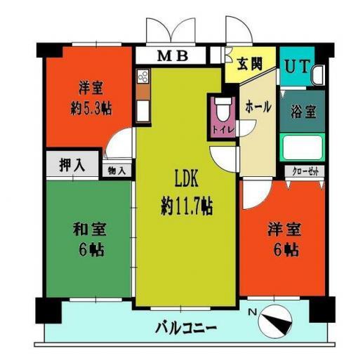 ◆セザール月寒中央 月寒中央駅徒歩7分!設備充実の3LDKです◆ 画像3