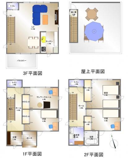 小樽市 張碓町 3階建 4LDK 画像3